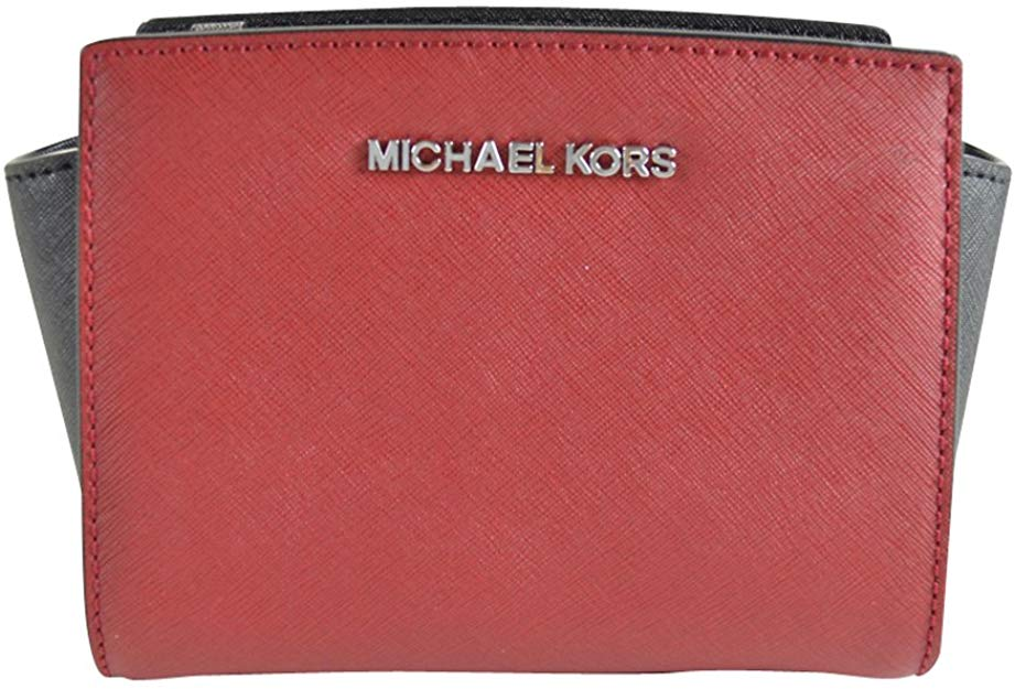 Michael Kors Women's Selma Mini Leather Crossbody Bag Red MK30222