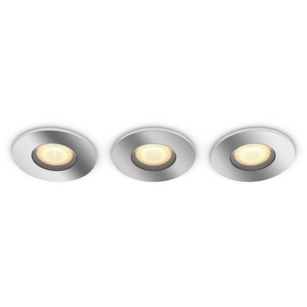Philips Hue White Ambiance Adore Downlight med dimmer, krom, 3-pakning