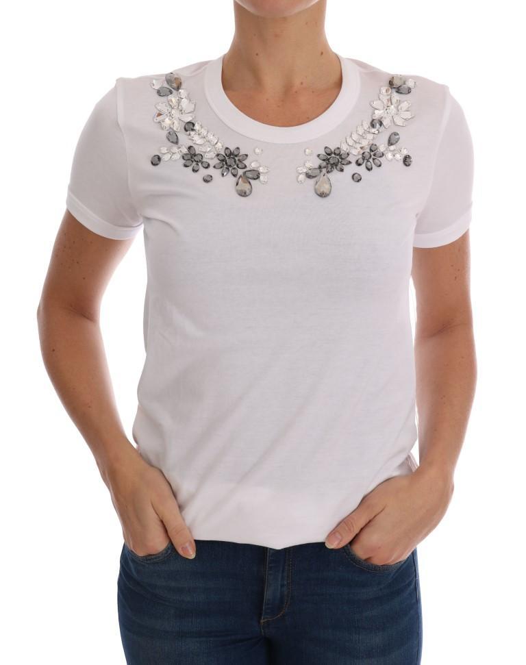 Dolce & Gabbana Women's Cotton Crystal T-Shirts White TSH1692 - IT38 XS
