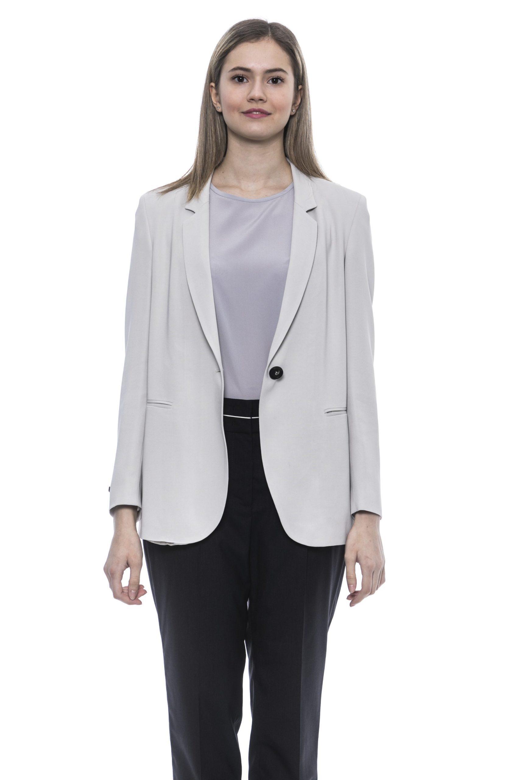 Peserico Women's Bianco Blazer Beige PE1383327 - IT44 | M