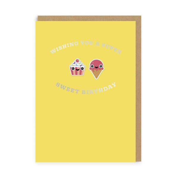 Cupcake & Ice Cream Sweet Birthday Woven Patch Card