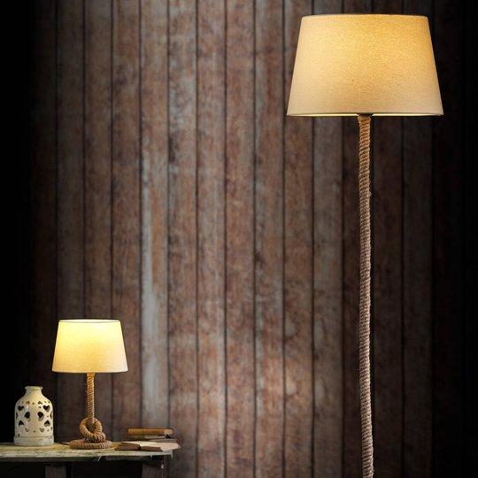 Corda bordlampe med stoffskjerm og tykt tau