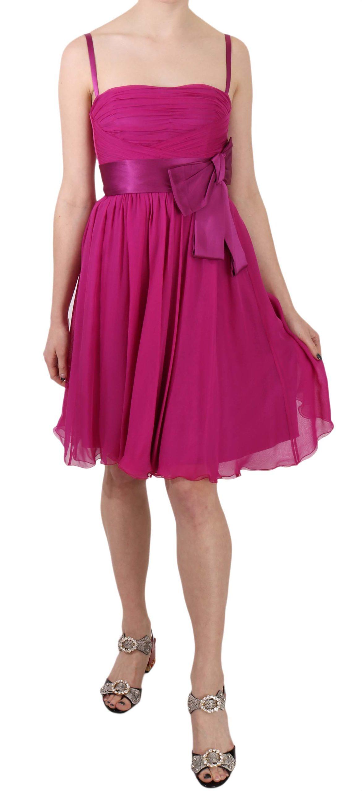 Dolce & Gabbana Women's Fuchsia Bow Silk Sleeveless Dress Pink DR1684 - IT38 XS