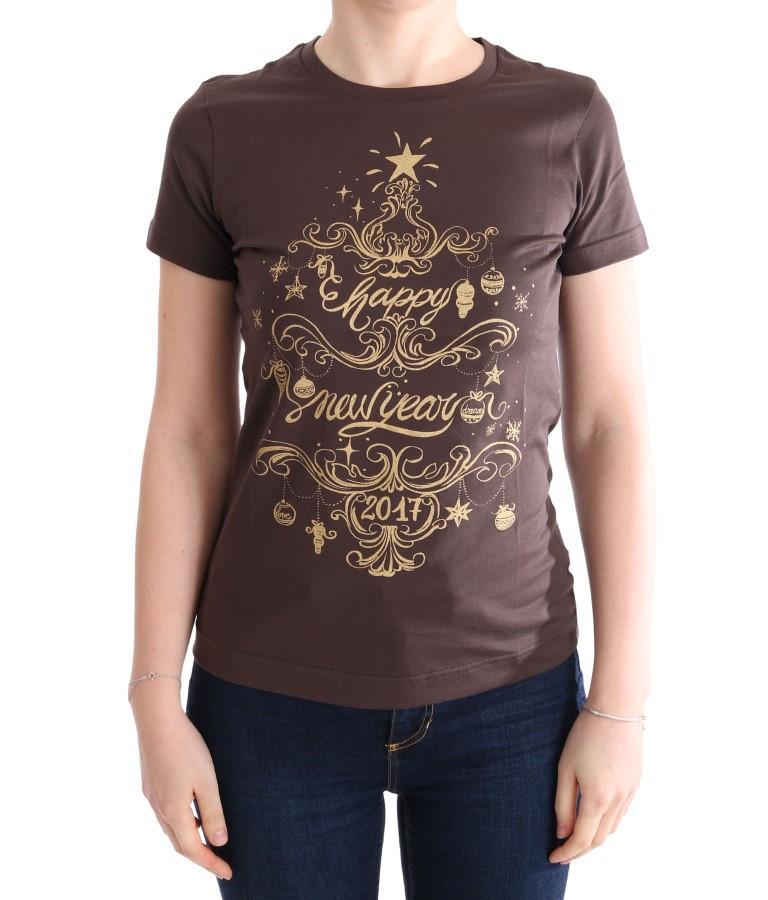 Dolce & Gabbana Women's Cotton Motive T-Shirt Brown TUI10007 - IT42|M