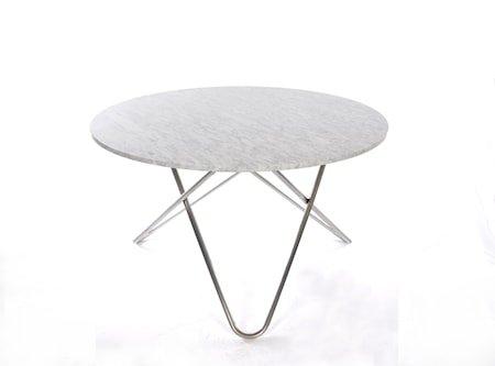 Big O Spisebord Rustfritt Stål/Hvit Marmor Ø120