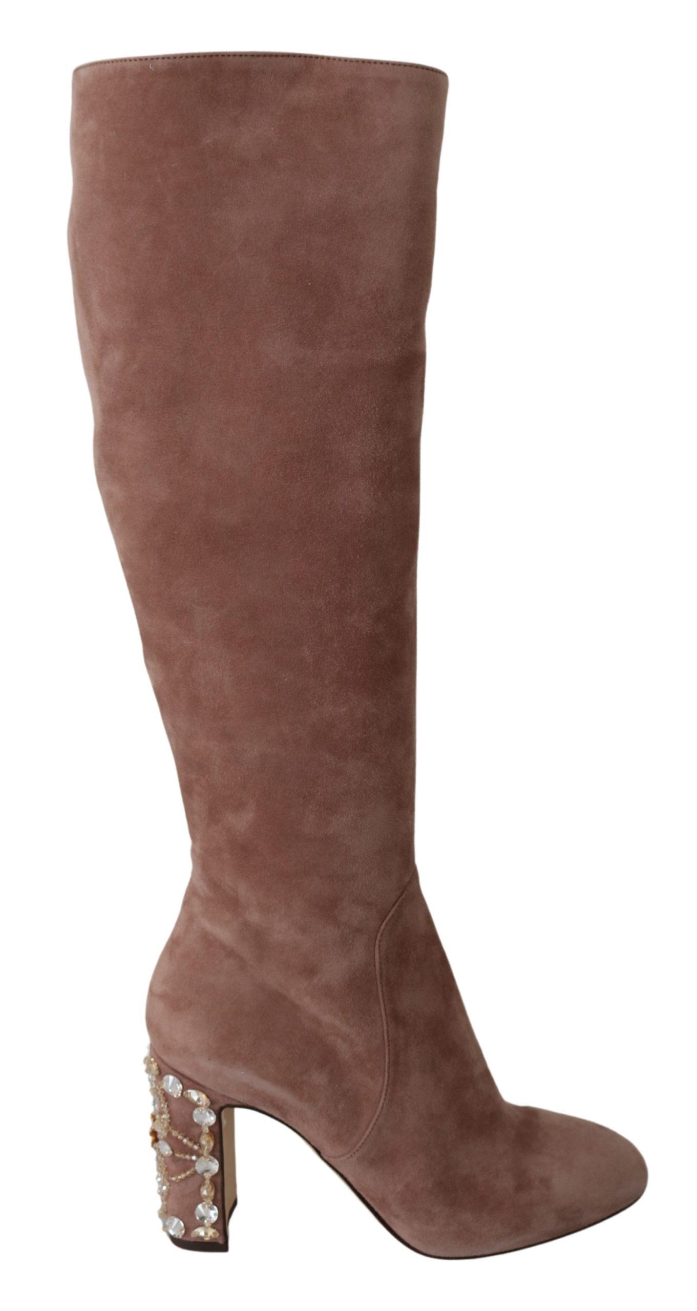 Dolce & Gabbana Women's Suede Leather Crystal Boots Beige LA6697 - EU39/US8.5