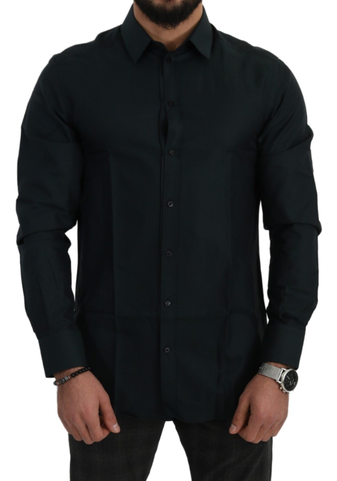 Dolce & Gabbana Men's Pattern GOLD Cotton Formal Shirt Green TSH5007 - IT41   L