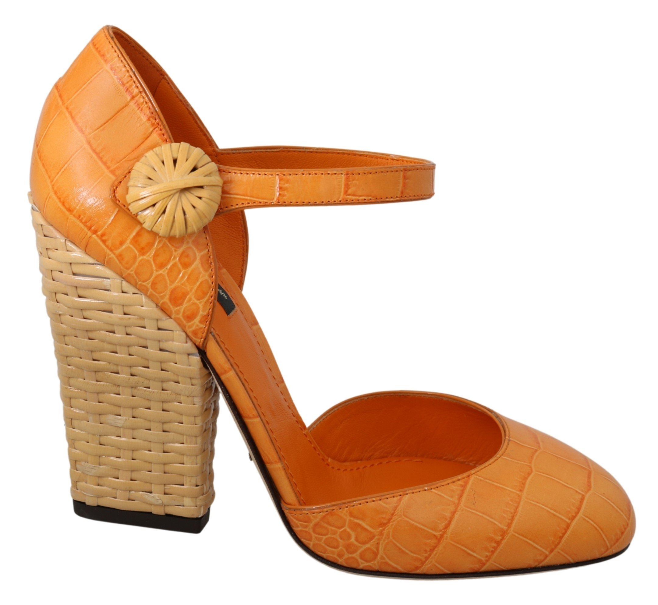 Dolce & Gabbana Women's Mary Jane Ankle Strap Heels Orange LA6961 - EU39/US8.5