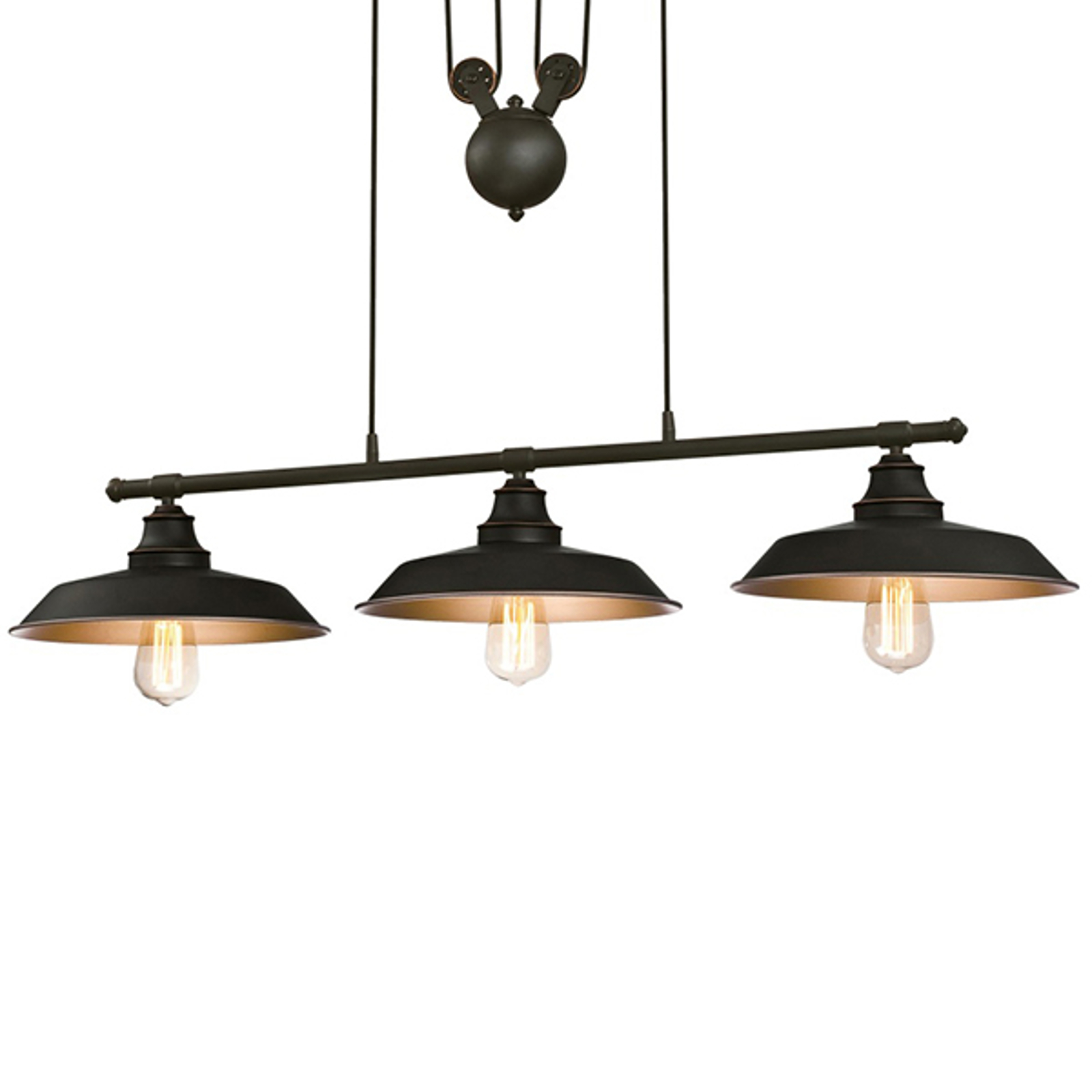 Westinghouse Iron Hill -riippuvalo, 3-lamp. musta