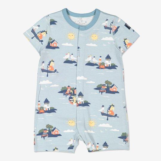 Hel pyjamas med skjærgårdstrykk, baby lysblå
