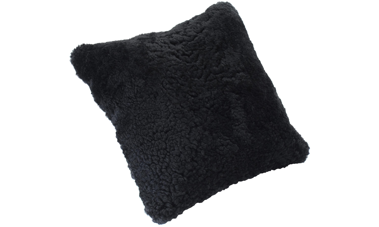 Krøllete saueskinnspute - svart