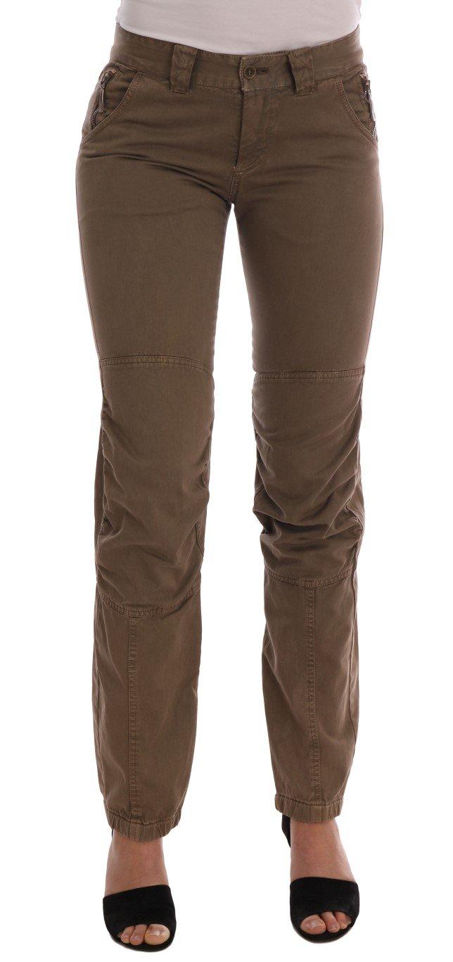 Ermanno Scervino Women's Slim Fit Trouser Brown BYX1159 - IT38 XS