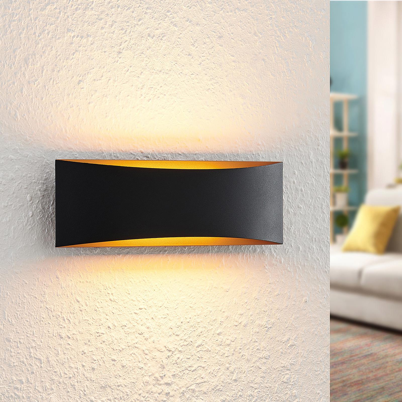 Arcchio Danta -LED-seinävalaisin, musta-kulta