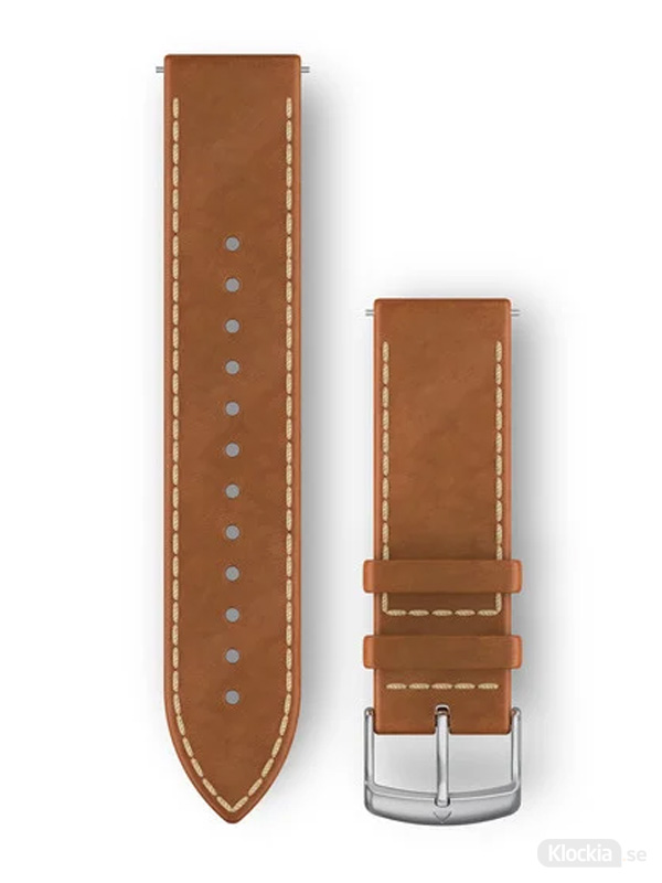 Garmin Armband 20mm med snäppspänne, Tan Italian Leather with Silver Hardware