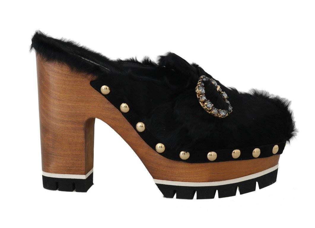 Black Xiangao Fur Crystal Mules - EU39/US8.5