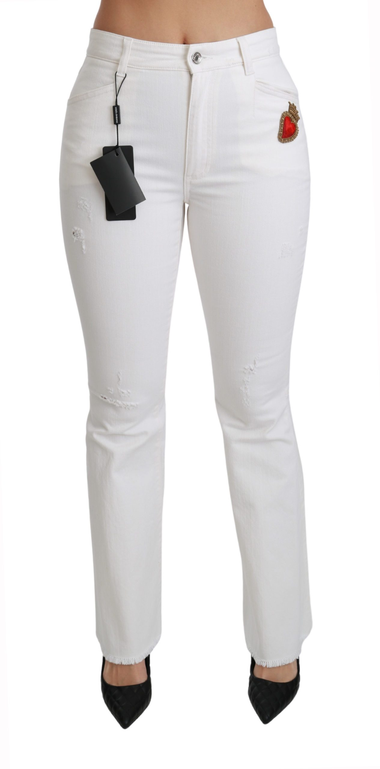 Dolce & Gabbana Women's Heart Flared Stretch Cotton Trouser White PAN70897 - IT36   XS
