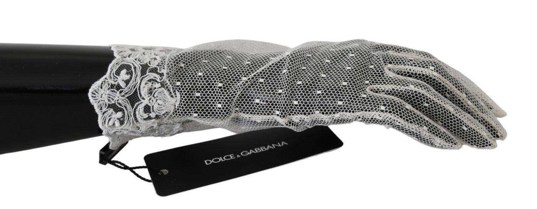 Dolce & Gabbana Women's Lace Wrist Length Mittens Cotton Gloves White LB1023 - 8.5 L