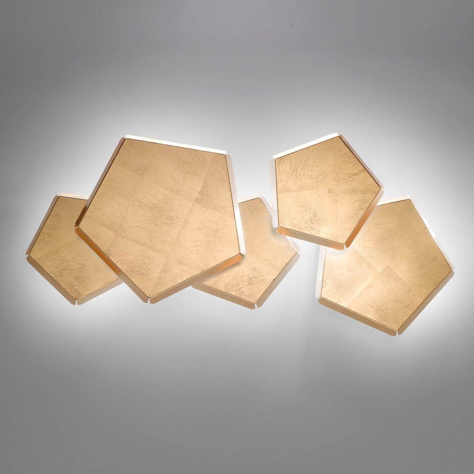 LED-vegglampe Pleiadi med gullblad, 5 lyskilder