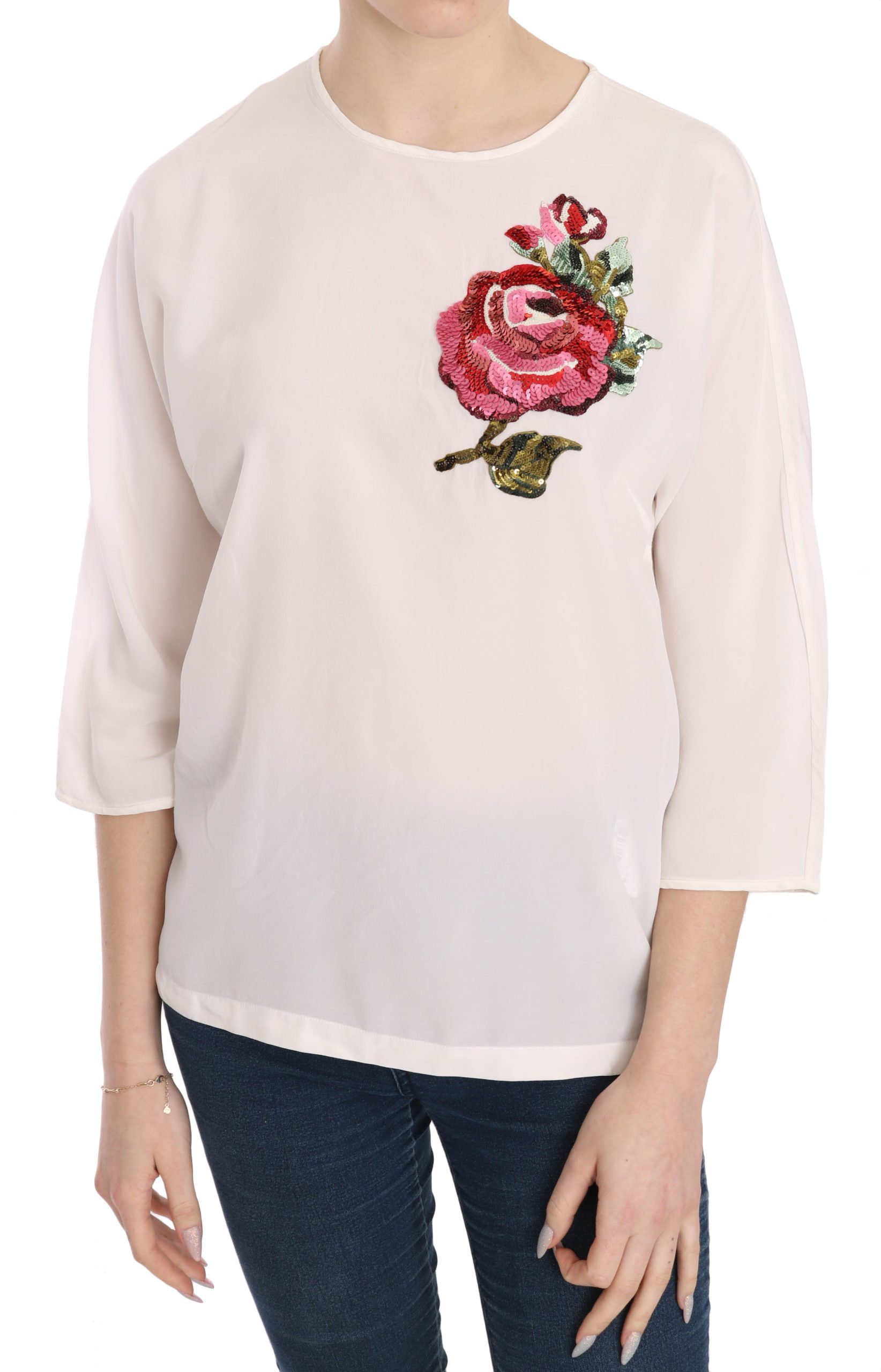 Dolce & Gabbana Women's Sequined Floral Top White TSH3653 - IT38|XS