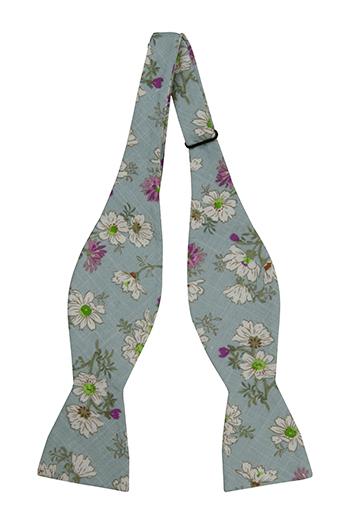 Bomull Sløyfer Uknyttede, Hvite & lilla blomster på turkis