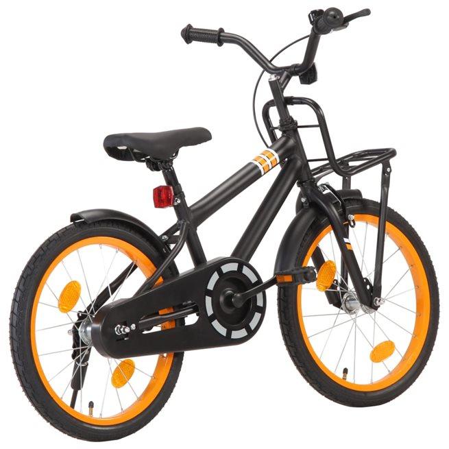 vidaXL Barncykel med frampakethållare 18 tum svart och orange