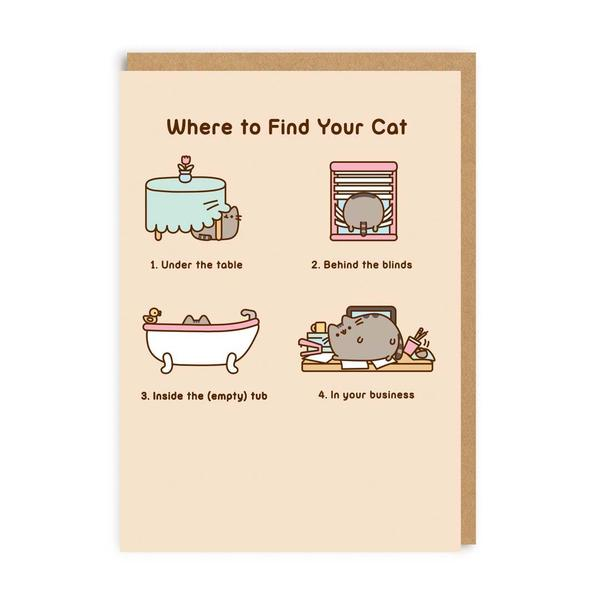 Pusheen Where To Find Your Cat Greeting Card