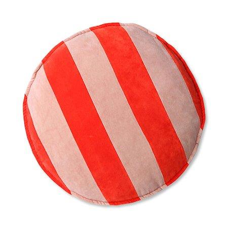 Striped Velvet Stolpute Rund Red/Pink 60 cm