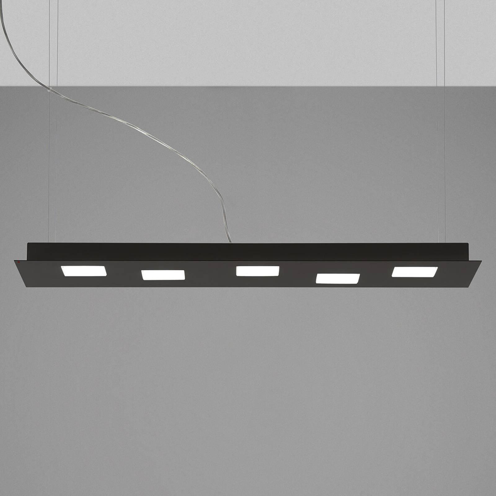 Fabbian Quarter - LED-hengelampe 5 lyskilder svart
