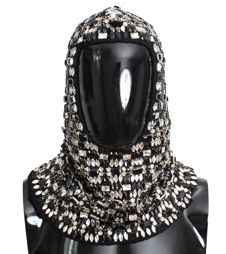 Dolce & Gabbana Men's Wool Crystal Runway Hood Scarf Hat Black SIG11152