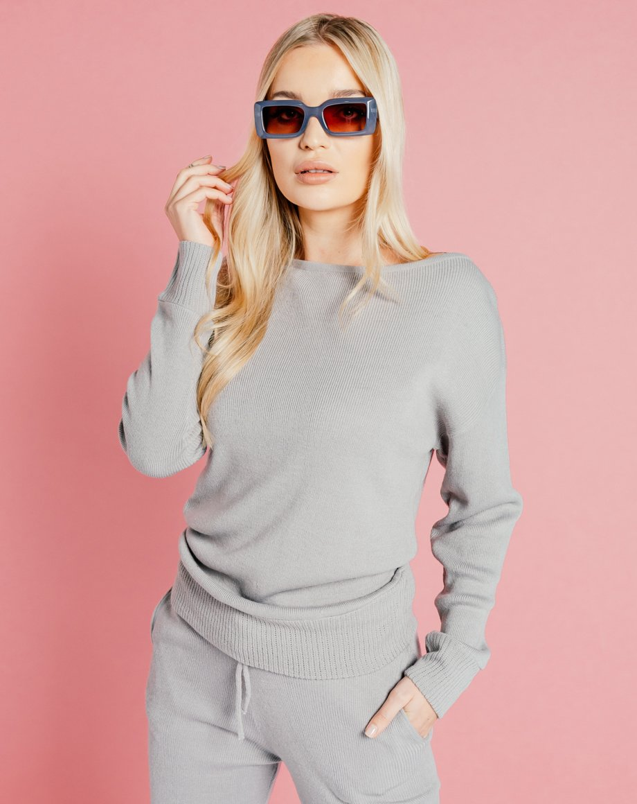 Auriel Knitted Lounge Top - Grey / 8