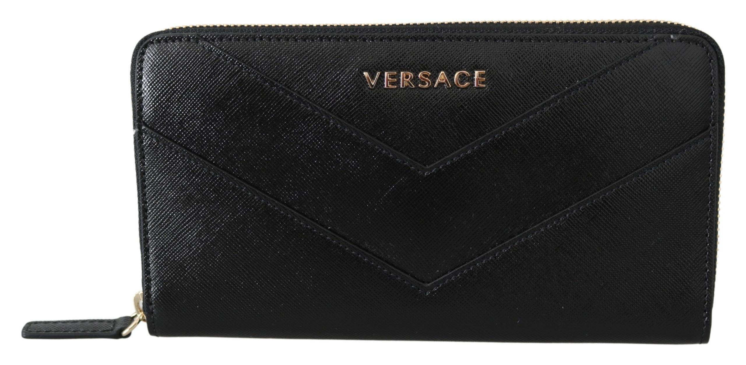 Versace Women's Zip Around Leather Wallet Black 8053850421244