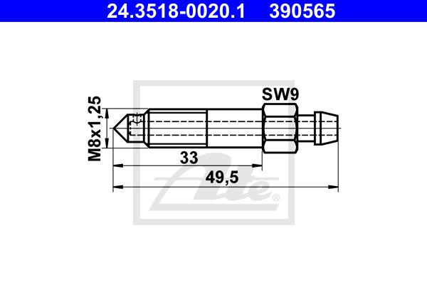 Huohottimen pultti / venttiili ATE 24.3518-0020.1