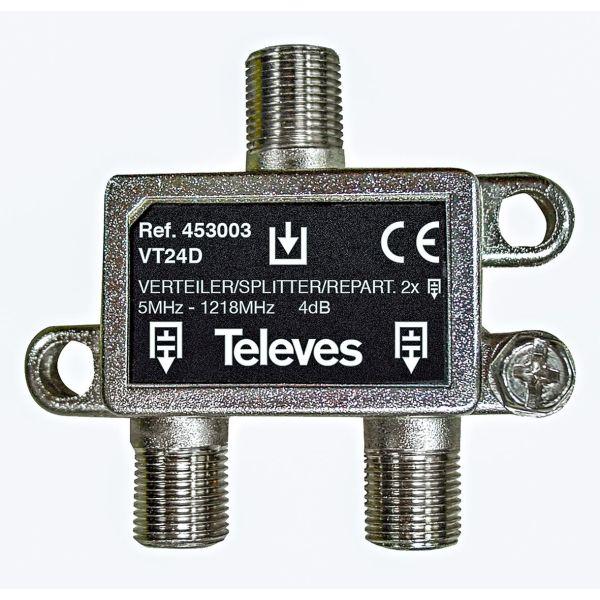 Televes VT24D Jakelija 5-1218 MHz, F-liitäntä 2-toiminen