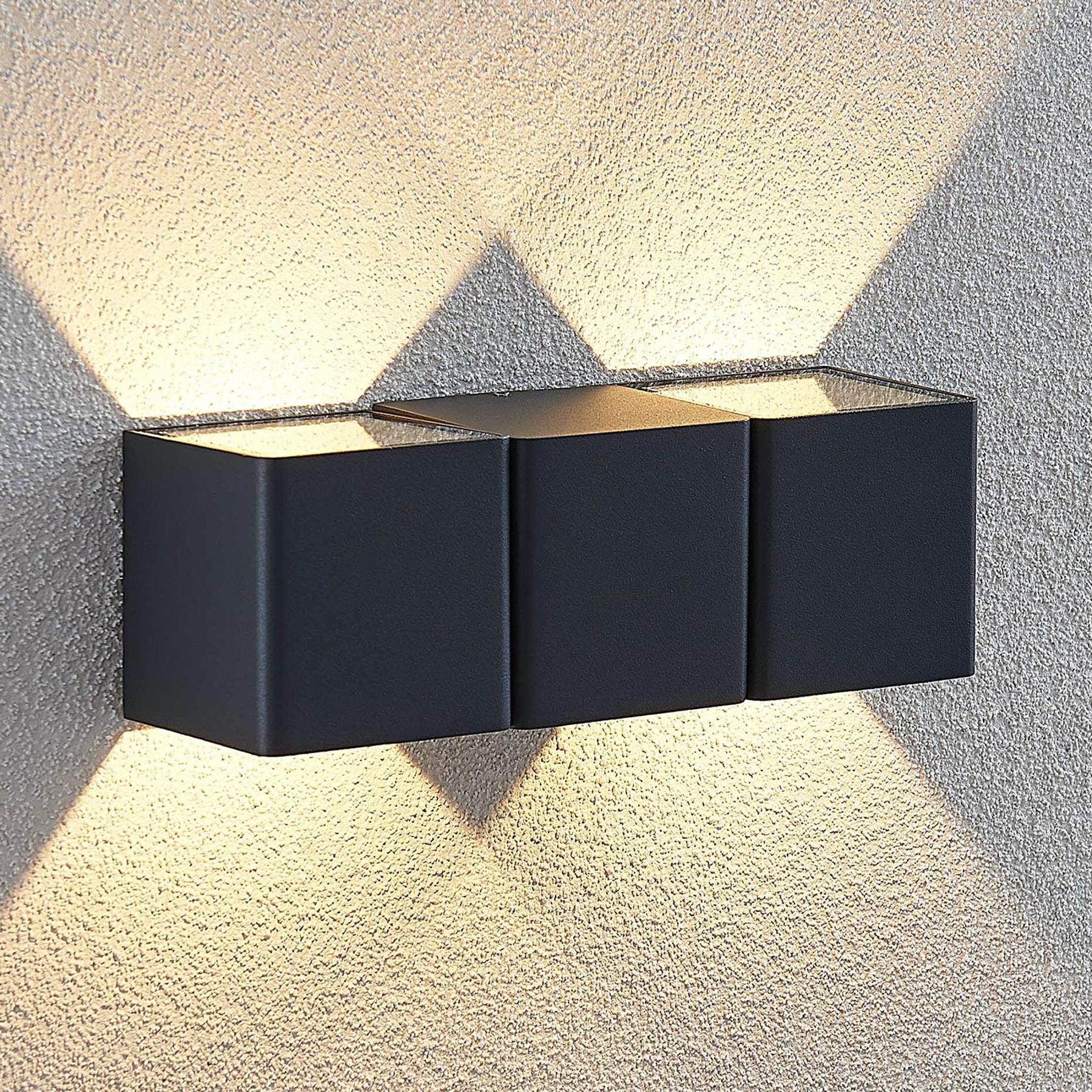 LED-ulkoseinävalaisin Niclas, kulmikas