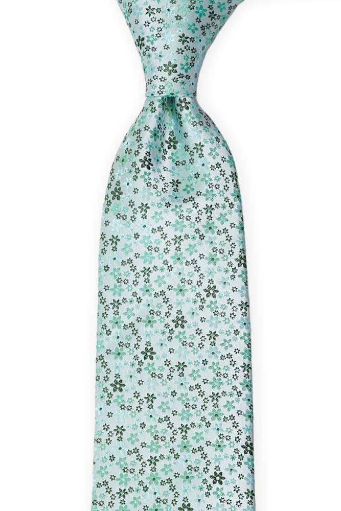 Silke Slips, Miniblomster i lys mynte, mørkegrønt & turkis, Grønn, Små blomster
