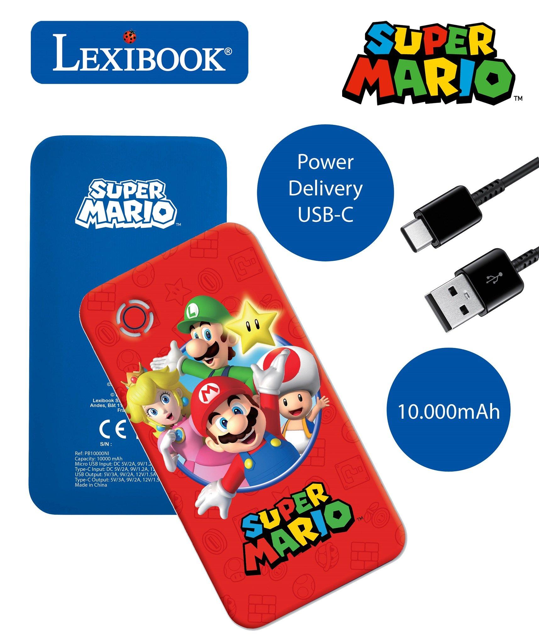 Lexibook - Super Mario 10.000 mAh Fast Charging Power Bank (PB10000NI)