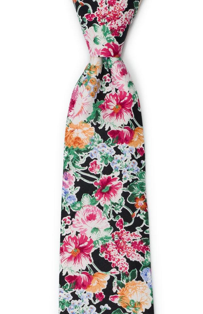 Bomull Slips, Blomsterdesign over det hele på svart bakgrunn, Svart, Blomster
