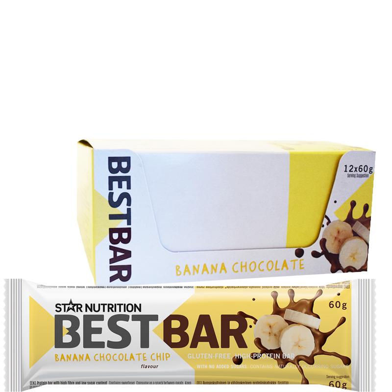"""Hel Låda Proteinbars """"Banana Chocolate Chip"""" 12 x 60g - 59% rabatt"""