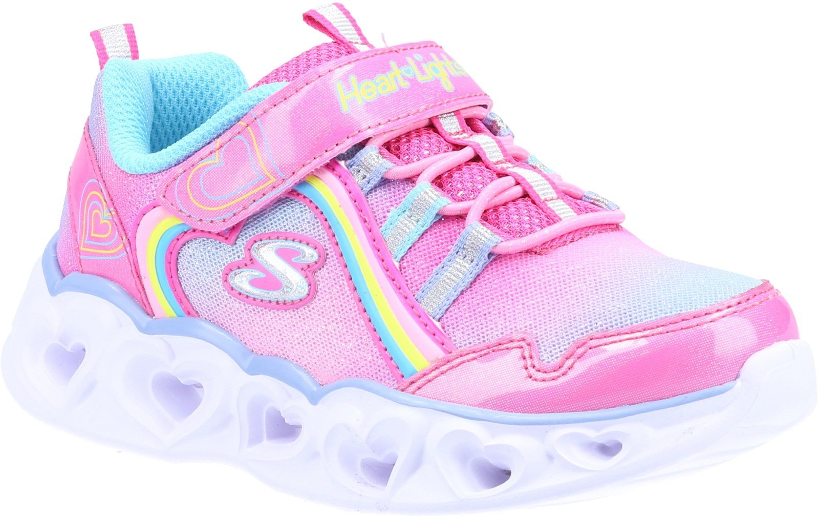 Skechers Kid's Heart Lights Rainbow Lux Trainer Various Colours 32081 - Pink/Mulitcoloured 4