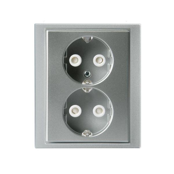 ABB Impressivo Seinäpistorasia 2-osainen, pikaliitäntä Alumiini