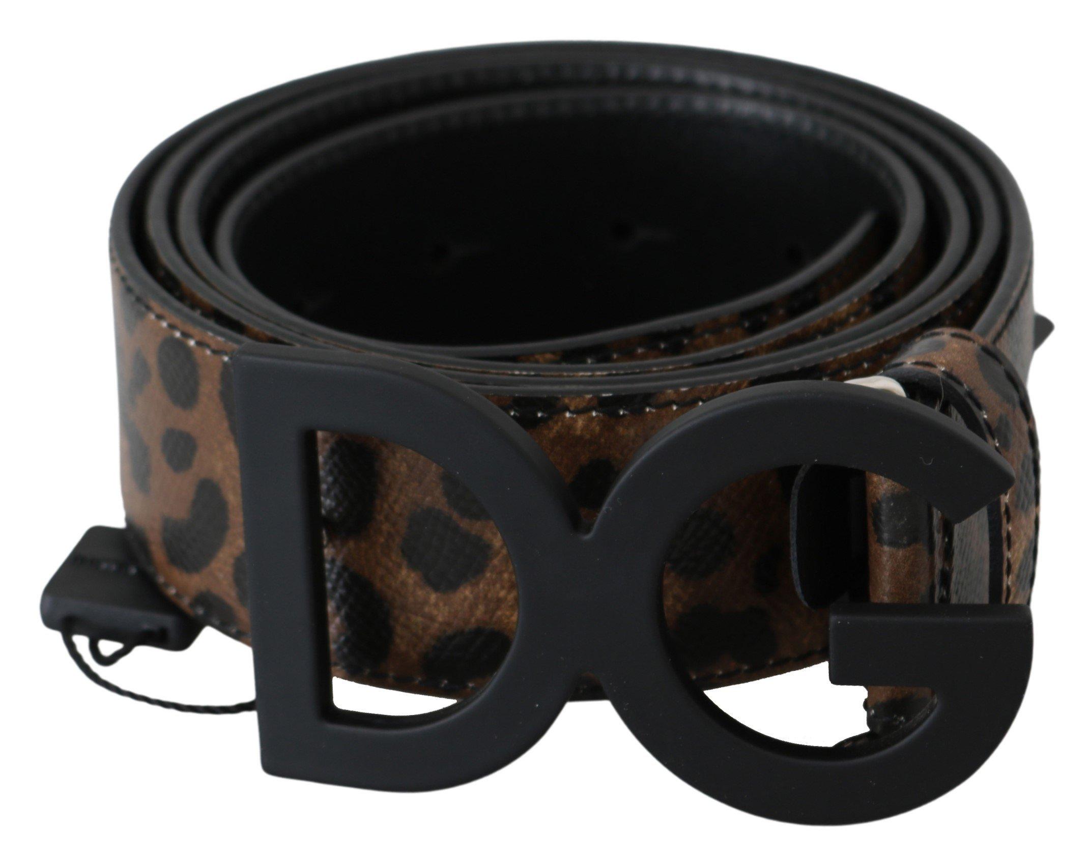 Dolce & Gabbana Men's Leopard Leather DG Buckle Belt Black BEL60669 - 105 cm / 42 Inches