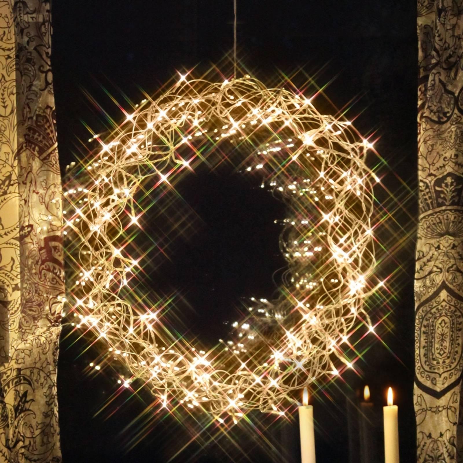 Curly-LED-koristekranssi 50 cm