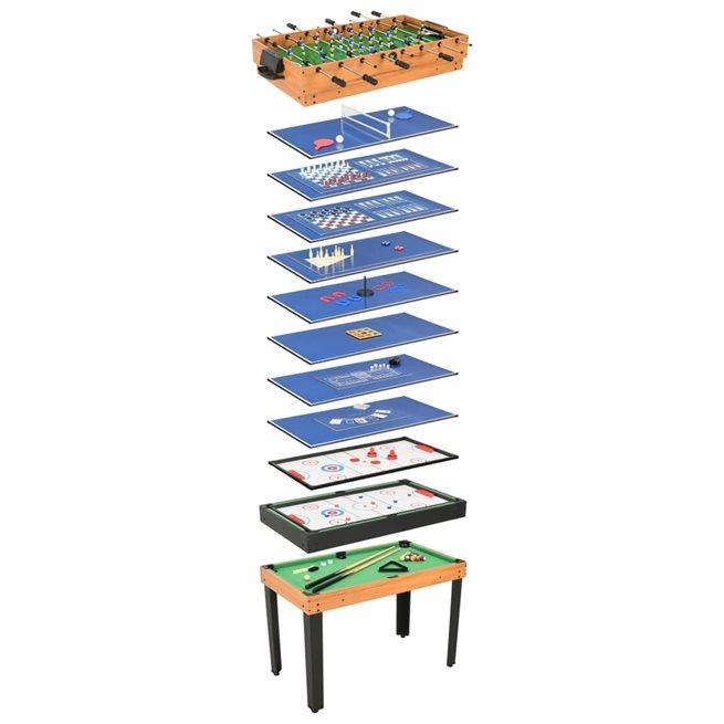 vidaXL Multi-spelbord 15-i-1 121x61x82 cm lönn