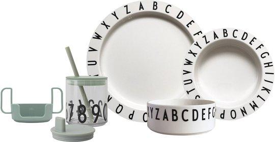 Design Letters Eat & Learn Barneservise Gaveboks, Grønn/Hvit