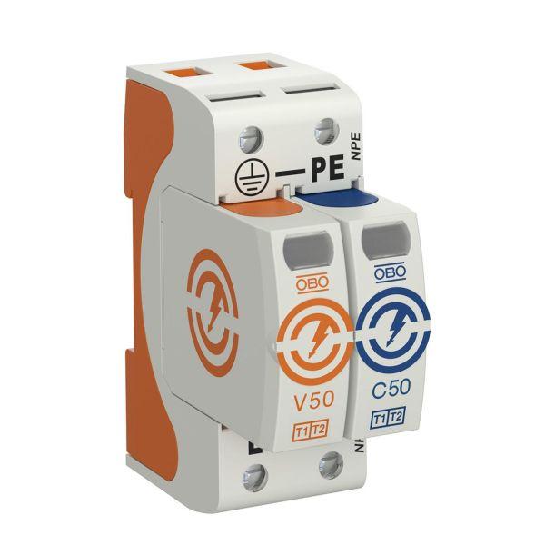 Obo Bettermann 5093522 Overspenningsvern for anlegg med askebeskyttelse Type: V50-1+NPE-280, uten fjern, 2 poler