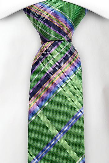 Silke Smale Slips, Grønn, blå, svart, orange & lilla Madras pledd, Notch GANESH