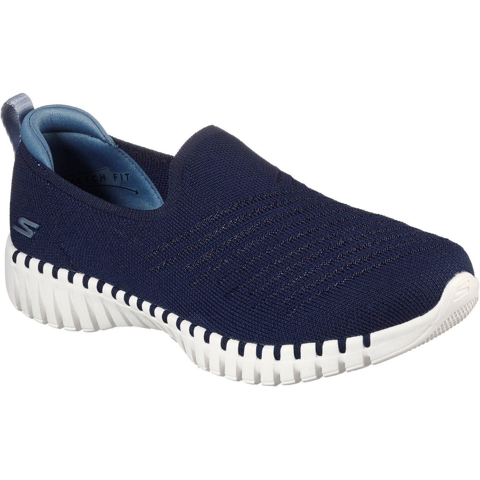 Skechers Women's Go Walk Smart Brunch Slip On Trainer Various Colours 32146 - Navy/Blue 4