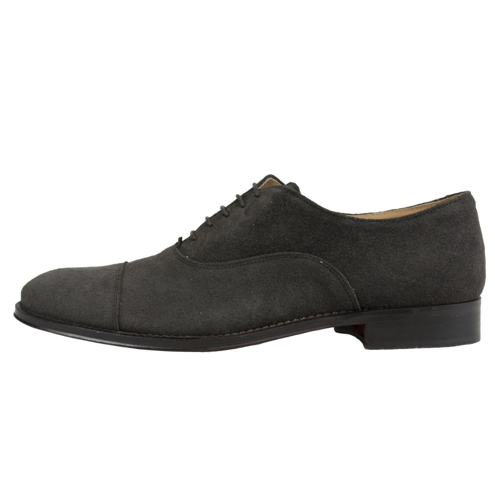 Saxone of Scotland Men's Suede Leather Laced Oxford Shoe Brown 350_Dark_Brown_Suede - EU40.5/US7.5
