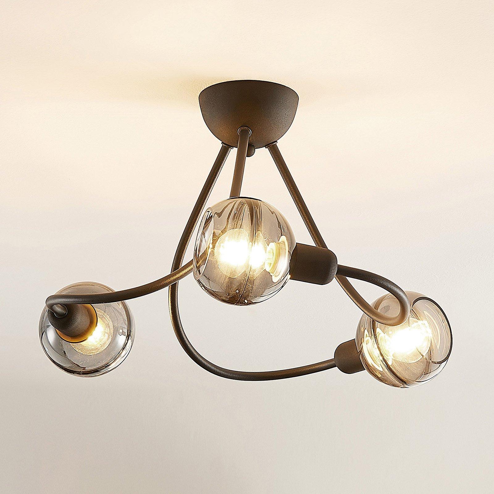 Lucande Ably taklampe, røykglass, 3 lyskilder