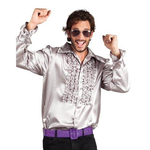 Discoskjorta med krås silver XL